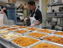 ROSS Companies Employees Make Spaghetti During the Crest Volunteering Event
