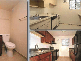 Image Gallery of ROSS Management Services Apartment Kitchen and Bathroom